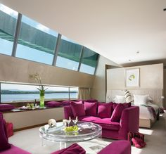 For his native Galway, world-famous London-based milliner Philip Treacy designed a fashionable five-star hotel to go home to that is as glamorous as it is tranquil. This is The g Hotel Galway. Hotel Breaks, Lucite Table, Fine Hotels, Master Bedroom Design, Bedroom Designs, Hotel Spa, Living Area, Contemporary Design, Love Seat