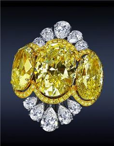 Diamond Cocktail Ring with Oval-Cut Yellow Diamonds