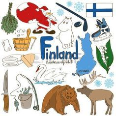 Fun colorful sketch collection of Finland icons, countries alphabet