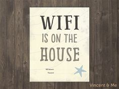 WIFI is on the House sign + WELCOME sign. Set of 2 printable signs. Home Decor. Be our guest. Beach style.