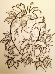 ventricle heart tattoo design with traditional roses Trendy Tattoos, New Tattoos, Tattoos For Guys, Kunst Tattoos, Tattoos Skull, Tattoo Sketches, Tattoo Drawings, Dessin Old School, Dibujos Tattoo