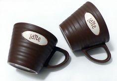 "2 Starbucks 2007 ""Latte"" Labeled Brown Ribbed Ceramic Coffee Cup Mug Set 9oz   #Starbucks"
