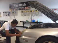 Check out this shot from our Auto Detailing Training Class where students learned and practiced headlight restoration - a high demand service that is always in need of qualified technicians!