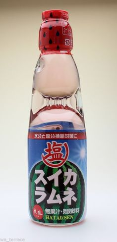 Salted Watermelon Japanese Ramune Soda Soft Drink Cool Down in Hot Humid Summer #Hata