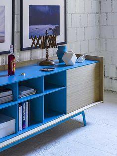 Тумба для гостиной EDGE madia con vano centrale a giorno Коллекция Edge by Miniforms | дизайн Gaia Giotti, Giona Scarselli