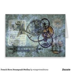 French Horn Steampunk Medley Greeting Card