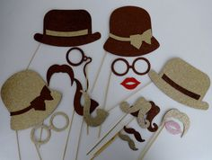 Wedding Photo booth props wedding birthdays fathers day mothers day mustache on a stick hats lips Brown Photo booth props