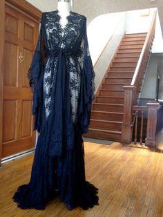 """Valentina"" Black Lace Dressing Gown - Boudoir by D'Lish"