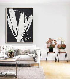 Black and white abstract flower painting minimalist art on canvas #MN9B, modern art by CZ ART DESIGN @CelineZiangArt
