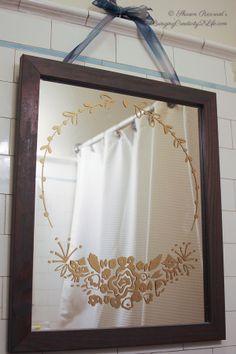 Rose Bouquet Frame Wall Decal on Mirror - Bathroom DIY with Wallternatives Wall Sticker - Designed by Bringing Creativity 2 Life