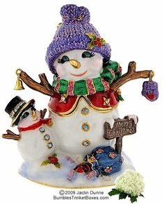 Trinket Box: Two Christmas Snowmen