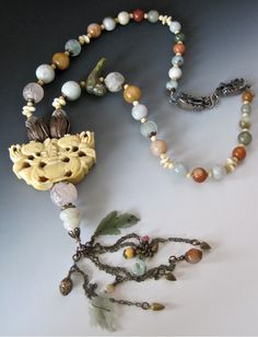 ©Myra Schwartz, Designer; Antique and vintage Chinese glass and Jade beads with Antique Ivory Lotus carving, SOLD