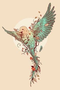 Tempus Fugit by Norman Duenas This guy has amazing illustration skills! Jj Tattoos, Future Tattoos, Tatoos, Sibling Tattoos, Bird Tattoos, Phenix Tattoo, Josie Loves, Desenho Tattoo, Skin Art