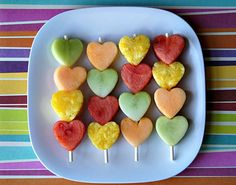 Even the pickiest eaters won't turn down these pretty kabobs in conversation-heart candy colors.