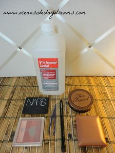 DIY Old Makeup Rehaul! sanitize and reuse all your old makeup using just rubbing alcohol and something to stir with!!
