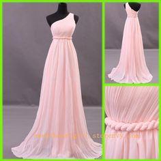 Simple Chiffon Floor-length pink prom dress   #prom #dress #bridesmaid