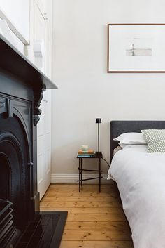desire to inspire - desiretoinspire.net - Library rules. Simple bedroom, grey bedhead