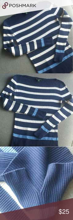 NWOT Ralph Lauren | Blue & White Thermal This thermal is super cute and fits like a glove! Perfect for fall or winter! Love it with a vest or scarf! It has slits on the sides is good with skinny jeans! Size Medium and has stripes and long sleeves  100% Cotton Bundle to save!! Ralph Lauren Tops Tees - Long Sleeve