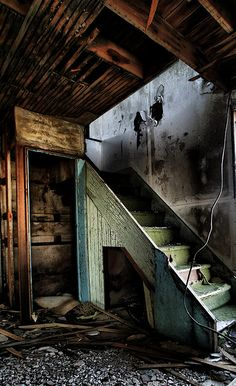 abandoned farm house stairway, Wyoming by bob merco, via Flickr
