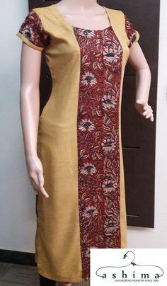 Rayon Kurti With Ajrak Silk Combo. Salwar Kameez Neck Designs, Churidar Designs, Kurta Neck Design, Kurta Designs Women, Sari Blouse Designs, Dress Neck Designs, Stylish Kurtis Design, Kurtha Designs, Kalamkari Designs