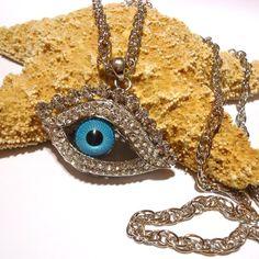 Türkisches Auge Nazar Strass Anhänger Blaues Auge + Lange Halskette Bettelkette | eBay