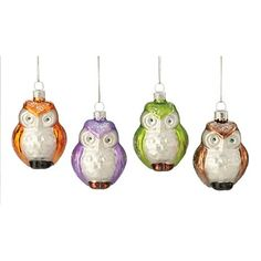 Set of 4 Assorted Color Owl Glass Ornaments