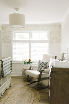 cozy neutrals paired with whimsical pattern in this nursery  Photography : Anne-Marie Bouchard of AMBphoto Read More on SMP: http://www.stylemepretty.com/living/2016/09/29/how-to-add-a-personalized-touch-to-your-dream-nursery/