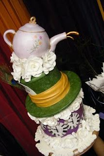 Mad hatter hat cake with teapot
