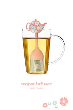 Bright coral - A stainless steel and silicone infuser shaped like a teapot. Tea Infuser Bottle, Chinese Tea Cups, Davids Tea, Buy Tea, Oolong Tea, How To Make Tea, Tea Accessories, Tea Pots, Coral