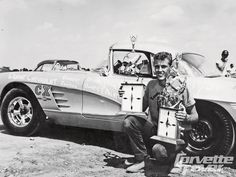 Vintage Drag Racing - Corvette and trophies