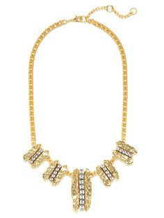 Multi-Size Hammered Gold & Crystal Pendant Necklace by Gerard Yosca on Gilt.com