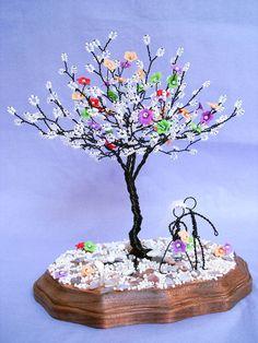 Flor alambre escultura árbol centro de mesa de boda por wireforest