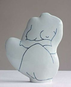 Porcelain squatting figure - Jude Jelfs