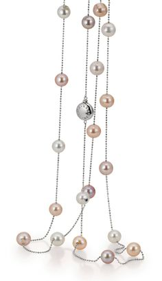 Perlenkette aus der Kollektion Indian Summer von YANA NESPER Pearls, Süßwasserperlen multicolor, Weißgold 750 - http://www.yana-nesper.de/perlenschmuck/perlenketten/is47