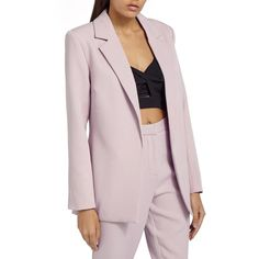 Missguided Boyfriend Blazer ($40) ❤ liked on Polyvore featuring outerwear, jackets, blazers, pink, pink jacket, oversized boyfriend blazer, oversized blazer, pink blazer and blazer jacket