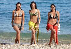 Deepika Padukone, Lara Dutta and Jiah Khan Deepika Padukone Lehenga, Bikinis, Swimsuits, Swimwear, Sexy Bikini, Lara Dutta, Bollywood Bikini, Outdoor Yoga, Priyanka Chopra