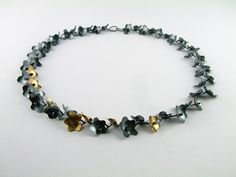 Oxidised silver & 14ct gold blossom necklace