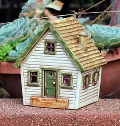 Tootie's Cottage #5 | Harry Tanner Design  miniature clay house sculpture lamp