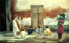 Crianças jogam bolinha de gude em uma aldeia na província do Punjab, Paquistão.