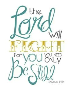Stay still...the Lord will fight for you....
