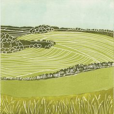 'Yorkshire Wolds II'. Limited edition linocut print. My linocut prints are inspired by nature; my love of gardening and the great British countryside. My interest in 1950s textiles and ceramics also influences much of my work. I love exploring the countryside by bike or on foot, camera in hand, capturing ideas for my next prints. www.michellehughes.co.uk