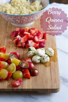 The perfect way to enjoy your summer without gobs of calories, heirloom tomatoes, marinated mozzarella and plump strawberries tossed in quinoa #vegetarian #recipe ohsweetbasil.com_-3