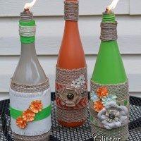 Tiki Wine Bottles   Glitter Glue & PaintGlitter Glue & Paint