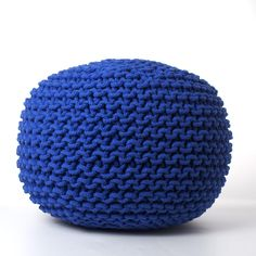 Knitted Round Pouf Cobalt Blue