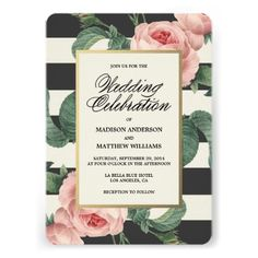 #Botanical Glamour   Wedding Invitation with pink flowers and black and white stripes..