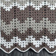 Gray Grandma Baby Blanket | AllFreeCrochet.com.  Looks great - chevron using the same stitches to make traditional granny square - great idea!
