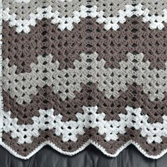 Gray Grandma Baby Blanket | AllFreeCrochet.com.  Looks great - chevron using the same stitches to make traditional granny square - great idea!
