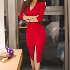 Red sexy bodycon midi dress work outfit spring summer 2018 This beautiful bodyco., Red sexy bodycon midi dress work outfit spring summer 2018 This beautiful bodyco. Red sexy bodycon midi dress work outfit spring summer 2018 This be. Sexy Dresses, Casual Dresses, Fashion Dresses, Dresses For Work, Party Dresses, Elegant Dresses, Casual Shoes, Red Dress Casual, Classic Dresses