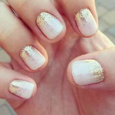 White Nail Designs Gold Glitter