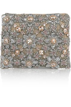Christopher Kane's Embroidered and crystal-embellished silk-tulle clutch